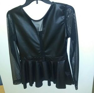 Tops - Black Faux Leather and Sheer Blouse